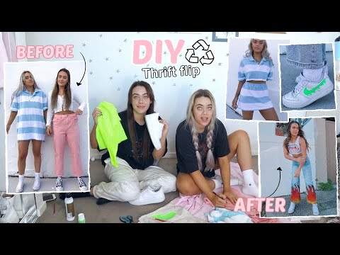 WE DIY'D THRIFTED CLOTHES! Thrift Flip and Upcycling!  (Trendy/Affordable) | Mescia Twins