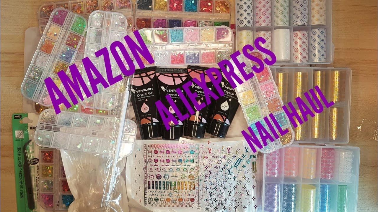 AMAZON AND ALIEXPRESS NAIL HAUL #brandlogo #nail #stickers #brand logo foil Venalisa polygel