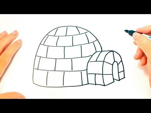 Cómo dibujar un Iglú paso a paso | Dibujo fácil de Iglú