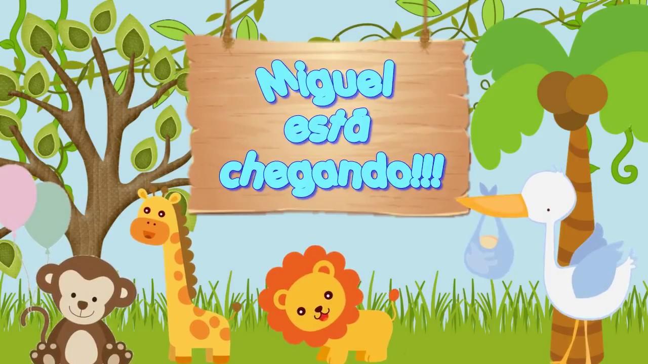 Mensagem De Convite De Cha De Fralda: Convite Animado Safari Chá De Fraldas