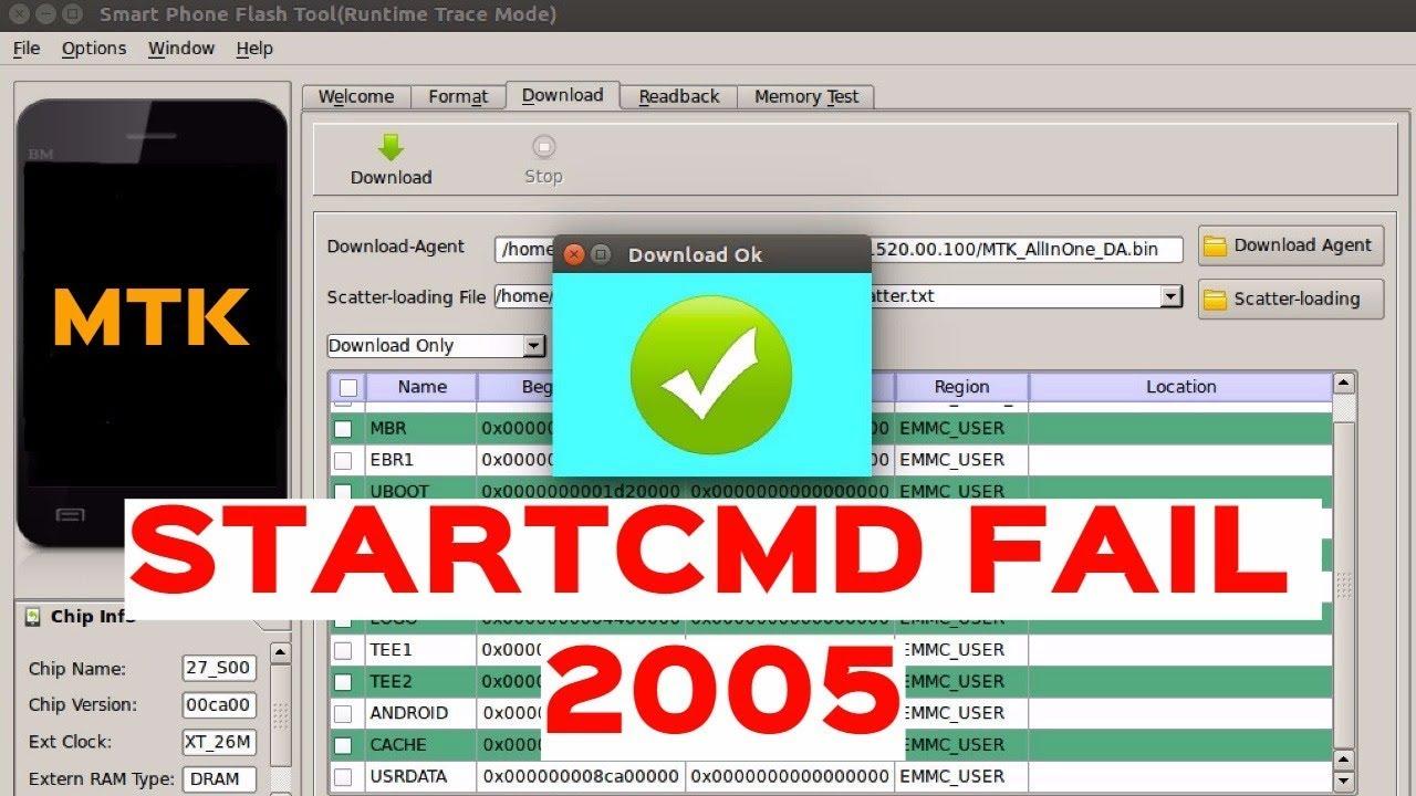 SP Flash Tool - BROM ERROR:S_BROM CMD STARTCMD FAIL 2005 - Possible reasons     Возможные причины