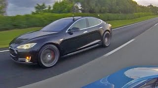 tesla model s p85d insane mode vs bmw i8 racing from a roll