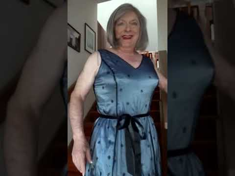 Blue Cocktail Dress on stairs