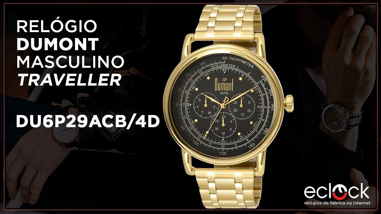 2ad7c8a352d Relógio Dumont Masculino Traveller DU6P29ACB 4D - Eclock - YouTube