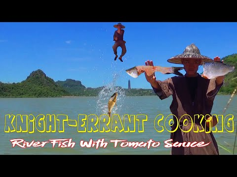 primitive-technology-cooking---river-fish-with-tomato-sauce-|-knight-errant-cooking