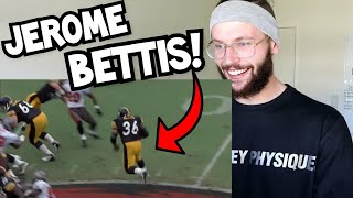 """Rugby Player Reacts to JEROME BETTIS """"The Bus"""" NFL Career Highlights!"""