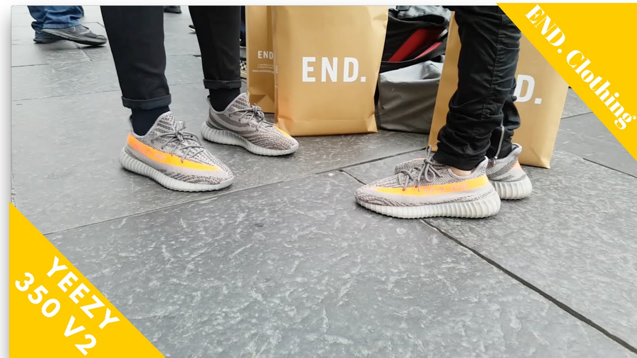 b7edddbde Yeezy 350 V2 Beluga Newcastle End Clothing (On Feet) - YouTube