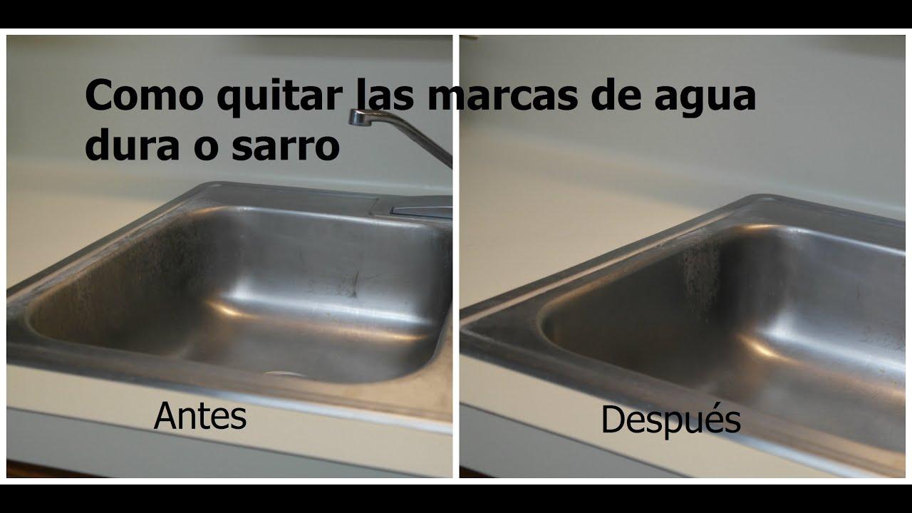 Como quitar las manchas de sarro o agua dura youtube for Llaves para fregadero