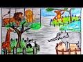 رسم حديقة الحيوانات خطوه بخطوه سهل  حديقة الحيوان