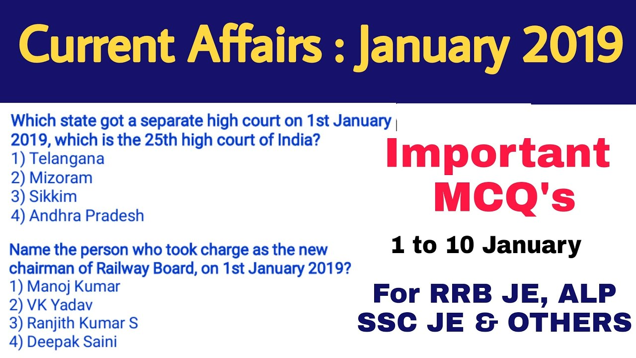 RRB JE Top Current Affairs of January 2019 #1 (1 to 10 January)