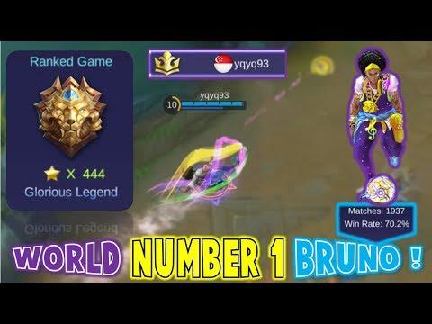 Mobile Legends : WORLD NUMBER 1 BRUNO PLAYER ! Insane Gameplay  /w yqyq93