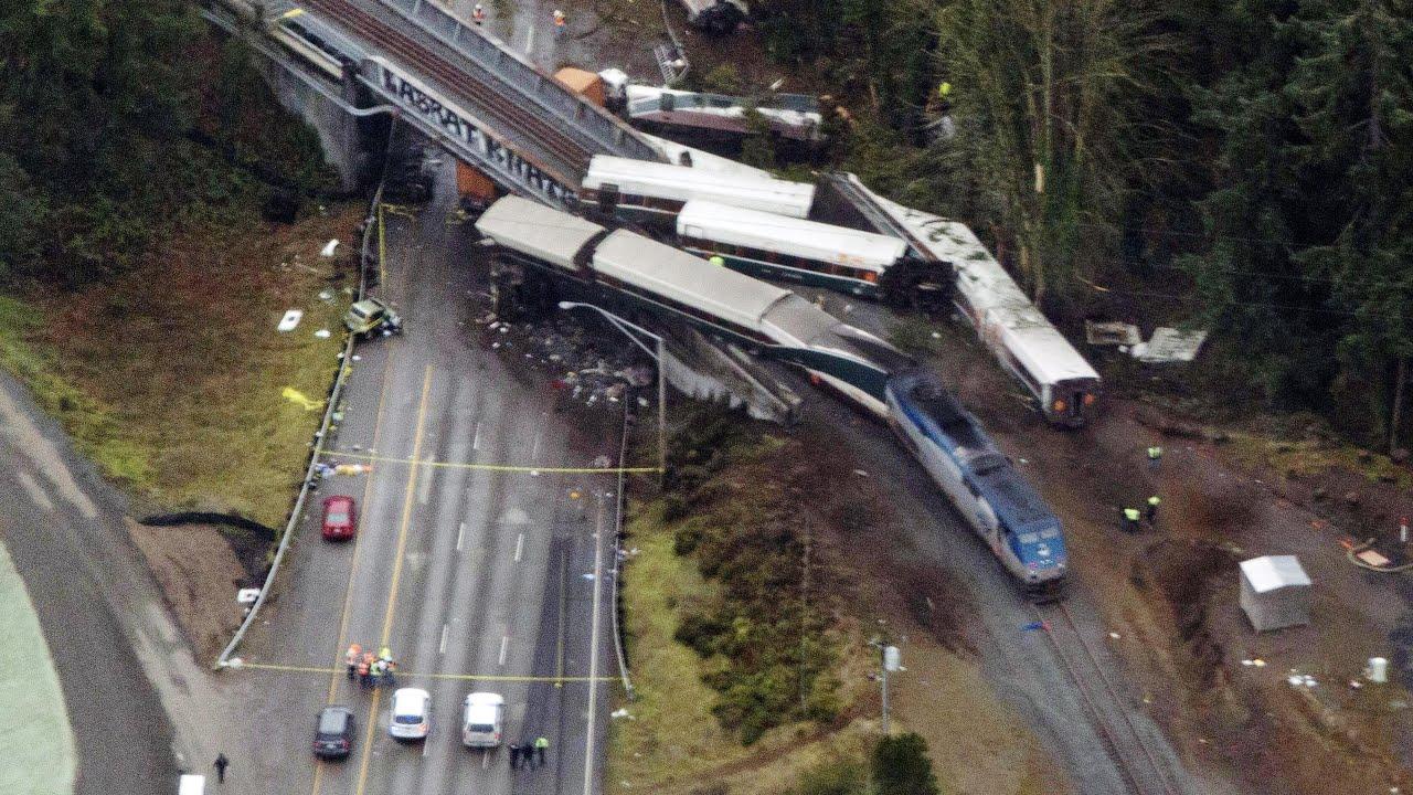 Aerial footage | Aftermath of deadly Amtrak derailment near Seattle