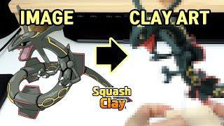 Pokémon Clay art - Shiny Rayquaza Dragon/Flying Legendary Pokémon