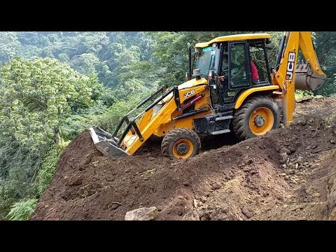 Fearless and Skillful JCB ecoXcellence Operator-Bridging Hilly Road