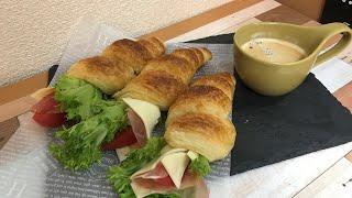 【パン作り】サラダクロワッサンコロネ!作ってみたよ!【家カフェ】