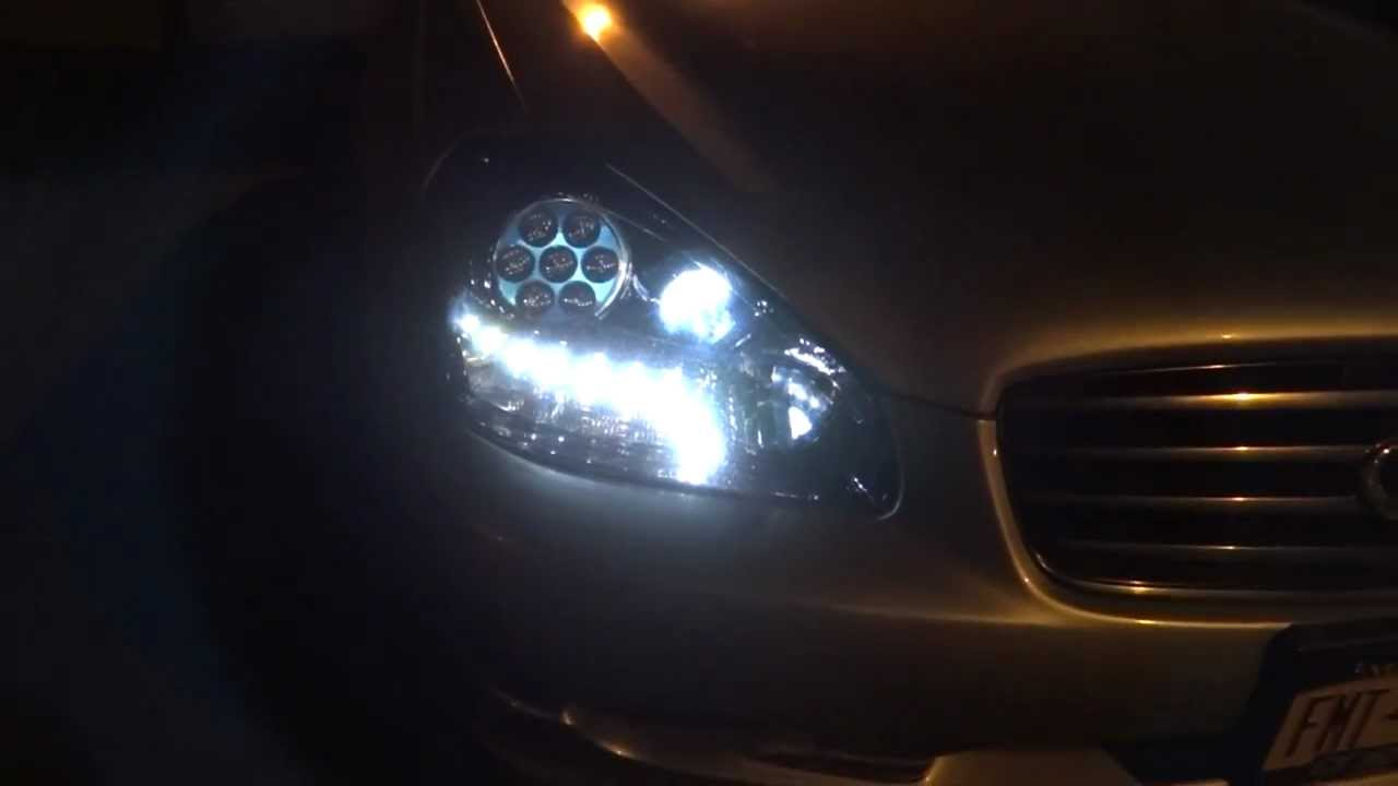 infiniti q45 custom led headlights and oem projectors output [ 1280 x 720 Pixel ]