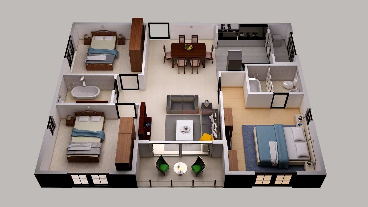 3d Floor Plan Design For Small Area House Plan Design 3 Bedroom And Others