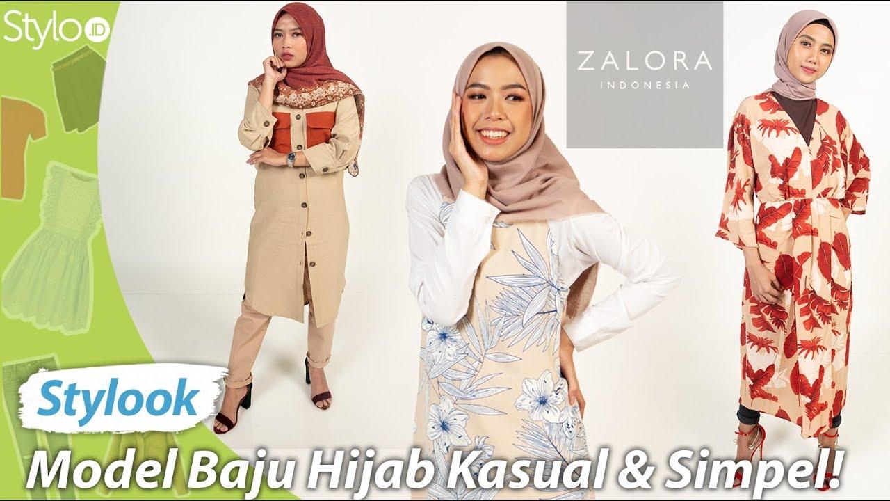 Model Baju Hijab Simple & Kasual Terbaru dari Zalora Indonesia  Try On OOTD