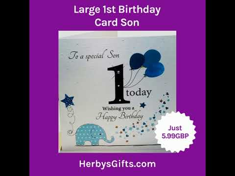 Large 1st Birthday Card Son 2019