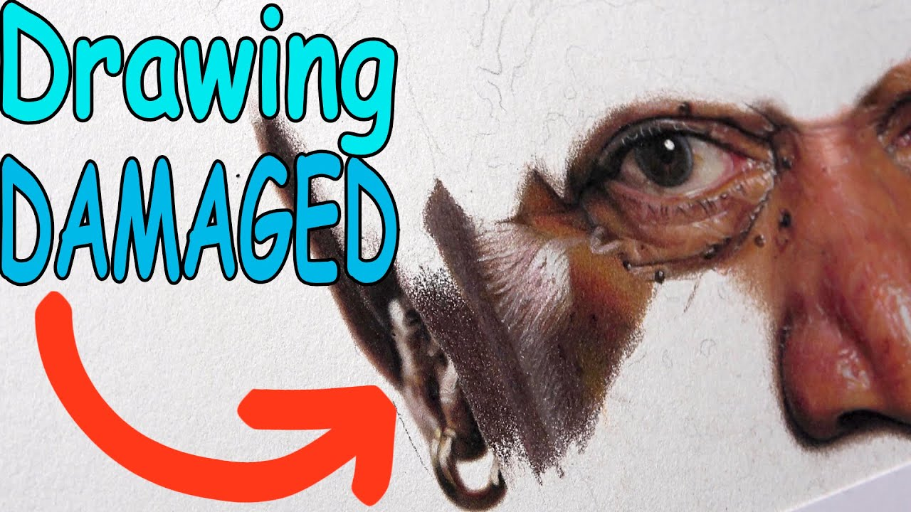 DESTROYING a DRAWING with 100 hours of WORK in it! || Hyperrealistic Portrait Drawing