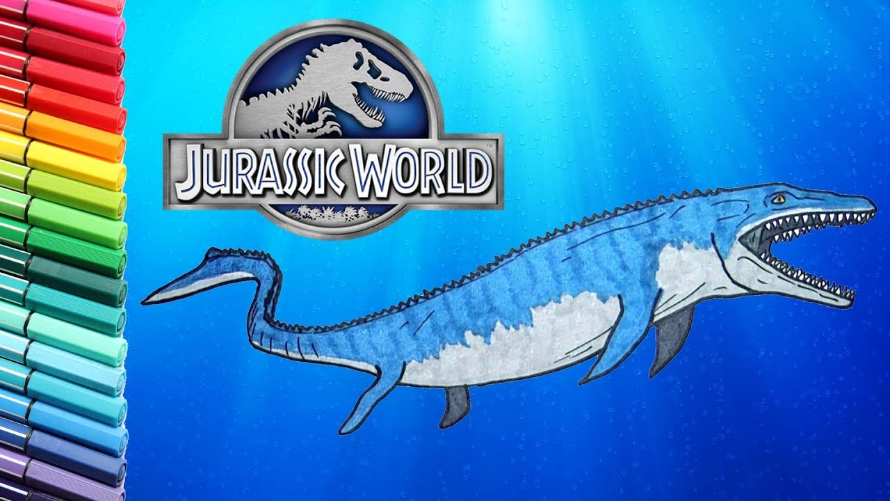 drawing and coloring mosasaur from jurassic world learning to draw dinosaurs for children. Black Bedroom Furniture Sets. Home Design Ideas