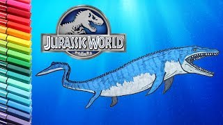 Drawing and Coloring Mosasaur From Jurassic World - Learning to Draw Dinosaurs For Children