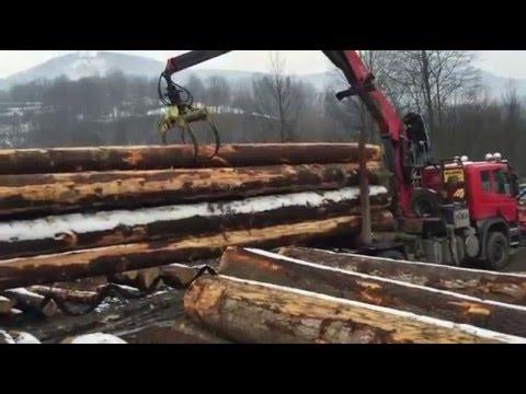 Standrew - załadunek drewna. Mszana Dolna - handel drewnem i tartak