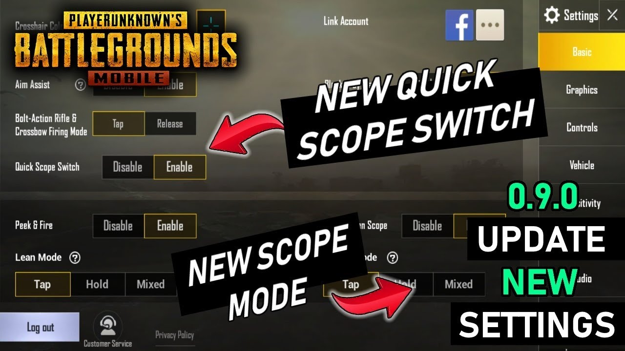 PUBG MOBILE - 0.9.0 UPDATE ALL NEW SETTINGS EXPLAINED IN DETAIL | NEW SCOPE SWITCH, NEW STYLE &