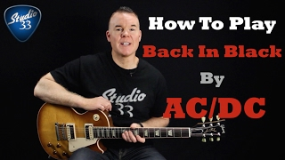 AC/DC Back In Black Guitar Lesson/ Tutorial - Easy Electric Guitar