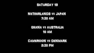 Schedule FIFA WORLD CUP 2010 Eastern Time::*