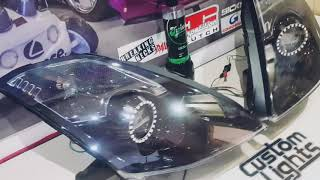Nissan 350Z custom headlights with iron man mod