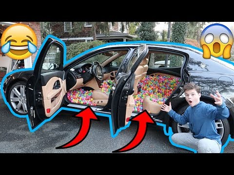 FILLING MY DADS SUPERCAR WITH 10,000+ BALL PIT BALLS PRANK!