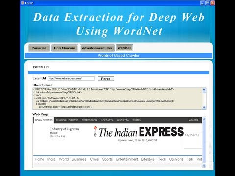 Data Extraction for Deep Web Using WordNet ASP.NET with C# Project