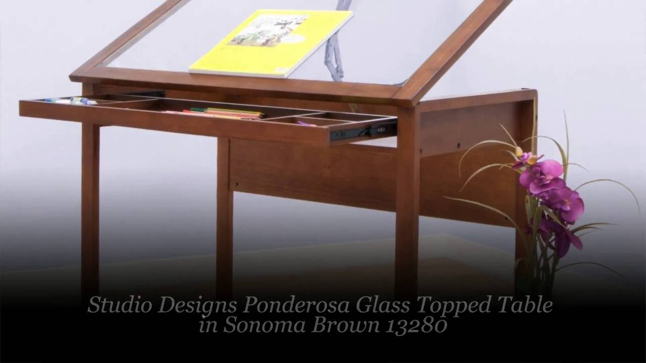 Delicieux Studio Designs Ponderosa Glass Topped Table In Sonoma Brown 13280   YouTube