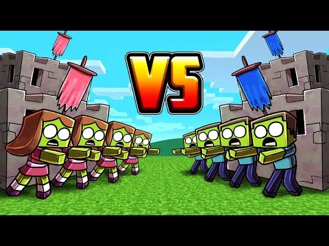 Minecraft | BOY ZOMBIE BASE VS GIRL ZOMBIE BASE! (Zombie Base Challenge)