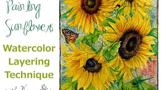 watercolor layering technique sunflowers