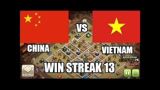 Vietnam vs China Win Streak 13 Is Easy TH12 3 Star Attacks Clash of Clans