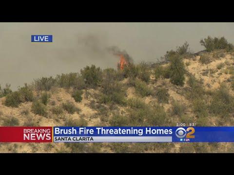 Brush Fire Threatening Homes Near Santa Clarita