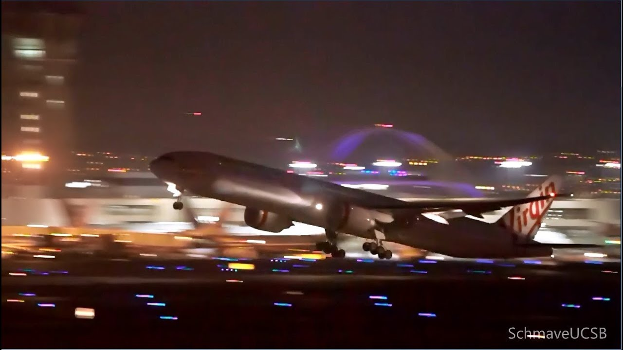 Singapore Airlines A340-500 Night Takeoff At LAX & More