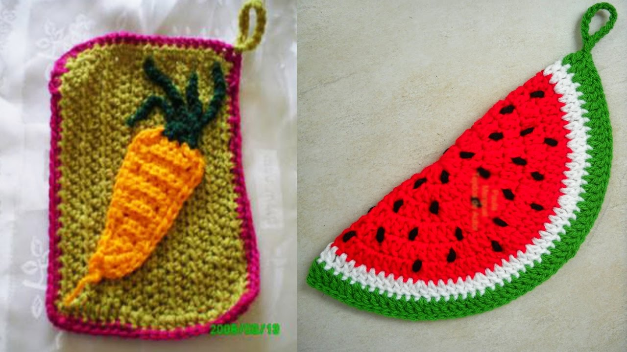 Agarraderas para cocina tejidas a crochet youtube for Adornos colgar pared