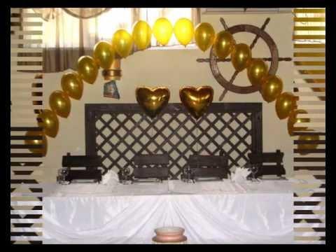 Смотреть онлайн Украшение свадьбы воздушными шарами  золото