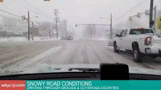 Snowy road conditions as winter storm hits Northeast Ohio