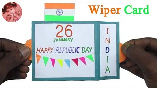 Indian Flag Wiper Card for Republic Day | Happy Republic Day Card | Republic Day Greeting Card 2020