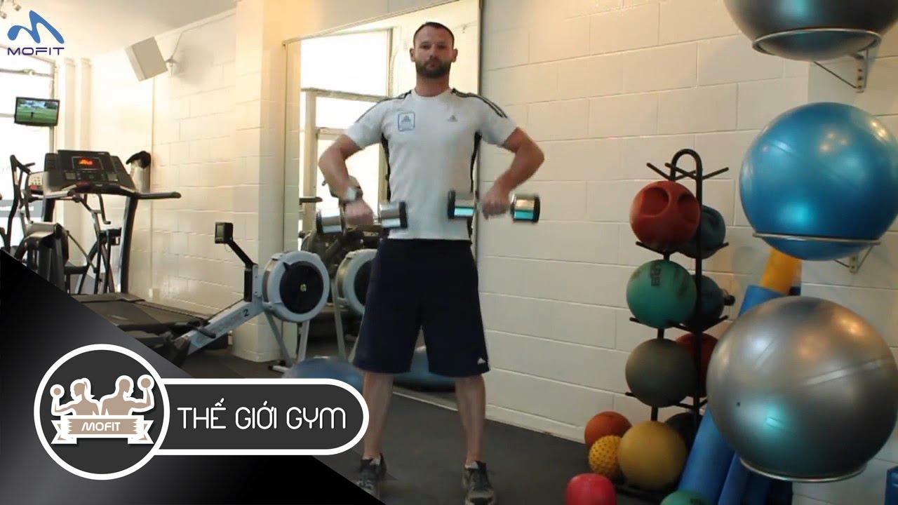 Hướng dẫn tập Cầu Vai: Kéo tạ đôi lên cao – Dumbbell High Pull | Thế Giới Gym MOFIT