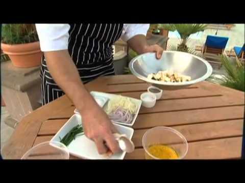 Grilled Cherimoya Salad with Prawns