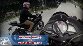 PULSAR RS200 vs YAMAHA R15 v2 | DOT vs EAGLE EYE | DAYLIGHT DRAG RACE | SPEED RUN
