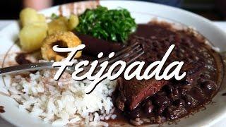 Feijoada Brasileira: Delicious Brazilian Feijoada stew with beans, meat and rice in Rio de Janeiro