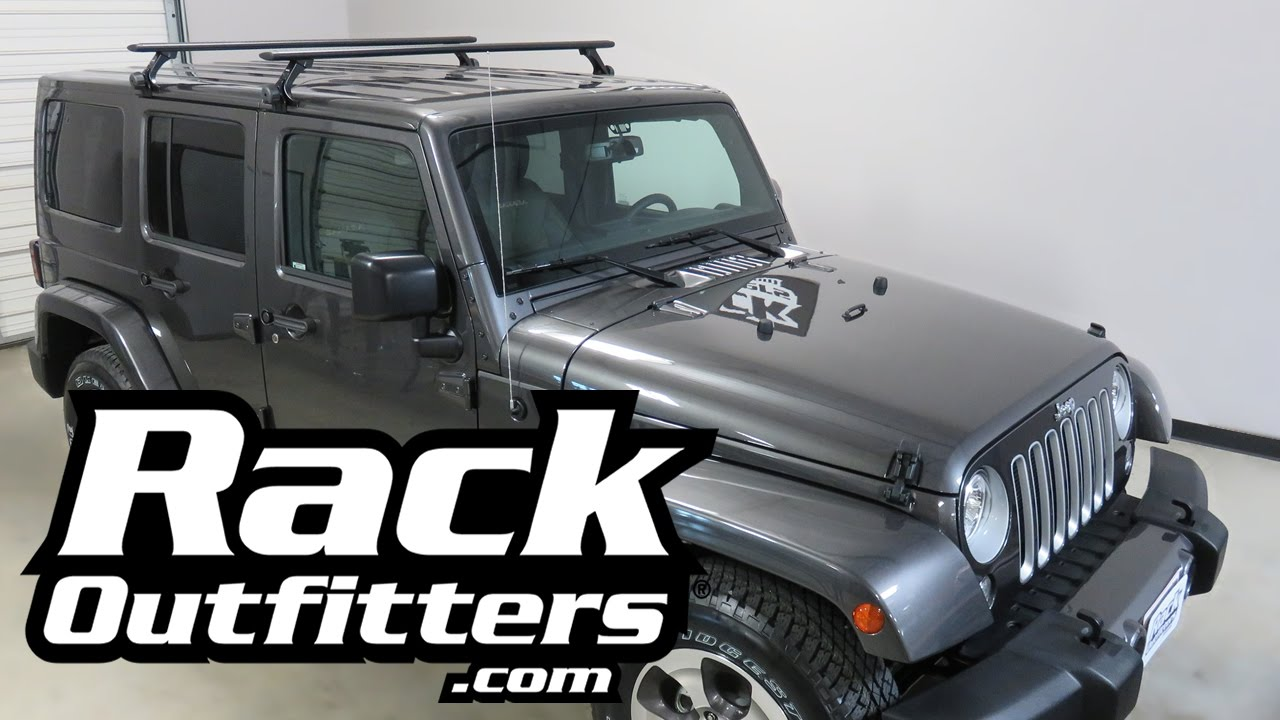 Nice Jeep Wrangler Unlimited Hard Top With Thule AeroBlade Roof Rack Crossbars