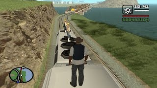 What happens if CJ rides the train all the way to the end during Wrong Side of the Tracks - GTA SA