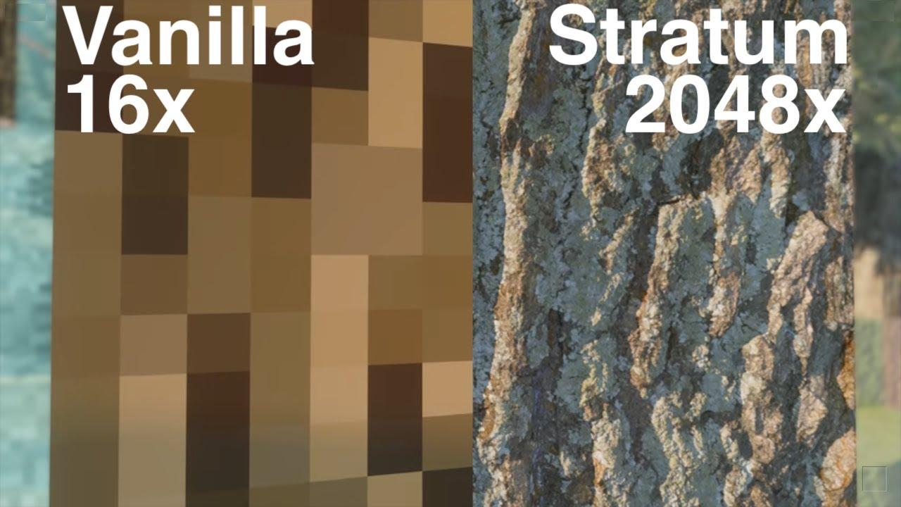 Minecraft Vanilla vs Stratum 2048x Pt 1 Forest [4K/60FPS]